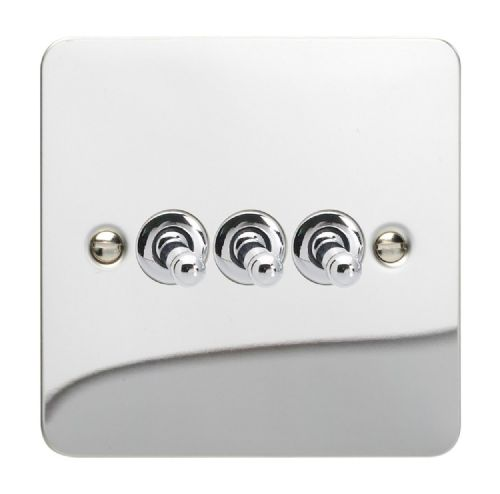 Varilight XFCT3 Ultraflat Polished Chrome 3 Gang 10A 1 or 2 Way Toggle Light Switch